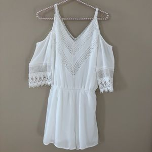 Maurices White Gauzy Cold Shoulder Romper